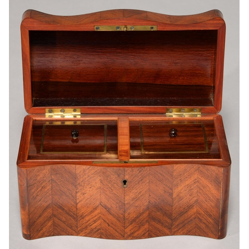 469 - A LOUIS PHILIPPE SERPENTINE KINGWOOD AND TULIPWOOD PARQUETRY TEA CADDY, C1840, WITH CUBE PARQUETRY L...