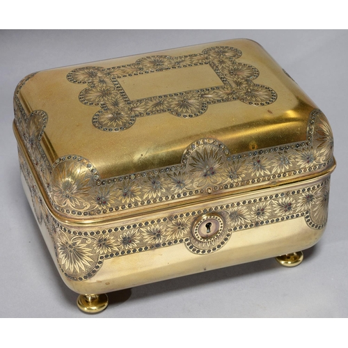 470 - A FRENCH GILT BRASS JEWEL CASKET, C1880 IN THE MANNER OF TAHAN, PARIS, ENGRAVED WITH WIDE BANDS OF S...