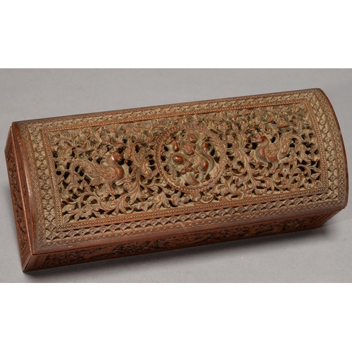 471 - AN ANGLO-INDIAN CARVED SANDALWOOD BOX AND COVER, 19TH C, THE FOUR SIDES AND DOMED COVER INTRICATELY ...