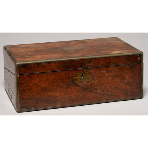 484 - A VICTORIAN ROSEWOOD WRITING BOX, MID 19TH C, THE FITTED INTERIOR RETAINING PAIR OF BRASS CAPPED GLA...