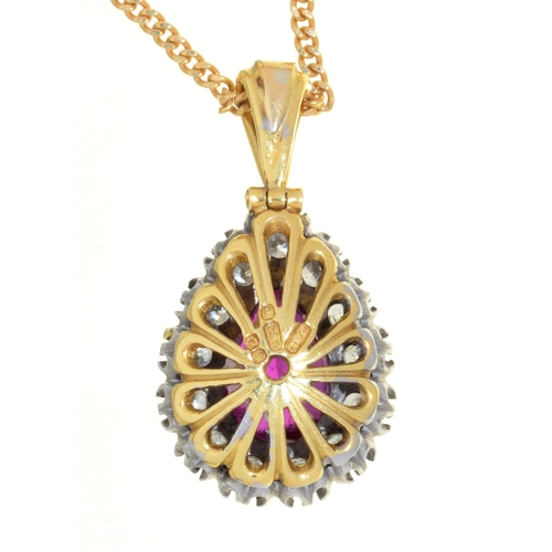49 - A PEAR SHAPED RUBY AND DIAMOND CLUSTER PENDANT, IN 18CT GOLD, 21MM INCLUDING LOOP, LONDON 1979 AND A...