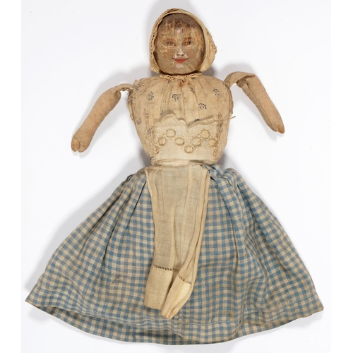 491 - A PAINTED WOOD AND STRAW STUFFED CLOTH DOUBLE ENDED HAPPY / SAD DOLL, EARLY 20TH C, IN CONTEMPORARY ...