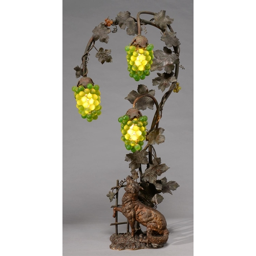 504 - A BRONZED METAL AND GREEN AND AMBER GLASS AESOP'S 'FOX AND GRAPES' FABLE ELECTRIC LAMP, C1920, FOX S...