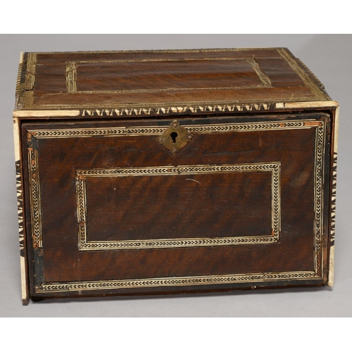 508 - AN INDO PORTUGUESE MOTHER OF PEARL, TORTOISESHELL, BONE AND INLAID WOOD TABLE CABINET, EARLY 18TH C,...