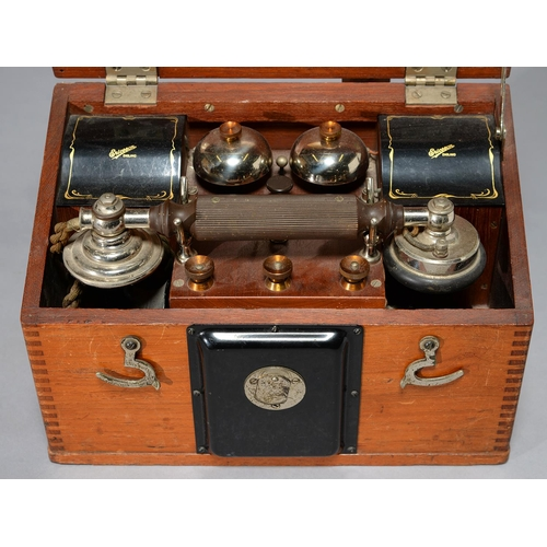 512 - AN ERICSSON POLISHED HARDWOOD PORTABLE TELEPHONE, C1930, WITH THREE MAGNET GENERATOR, 200 OHM MAGNET...