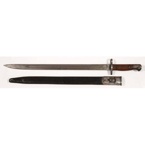 520 - A 1907 PATTERN SWORD,BAYONET AND SCABBARD, THE BLADE STAMPED CROWN, GR 1907 4-15 AND <em>CHAPMA...