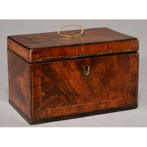 525 - A GEORGE III MAHOGANY TEA CHEST, C1800, WITH BARBER POLE STRINGING, 19CM L...