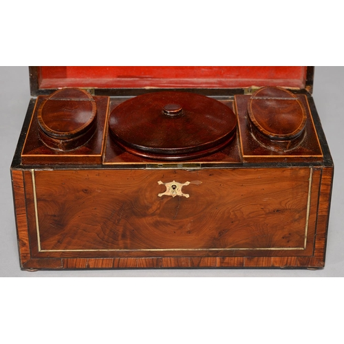 526 - A GEORGE III YEW WOO, ROSEWOOD AND BRASS LINE INLAID TEA CHEST, EARLY 19TH C, 29CM L, CONTAINING PA...