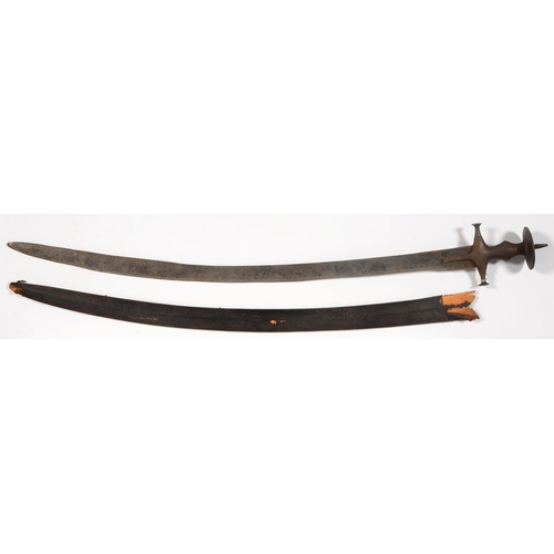 528 - AN INDIAN SWORD, TULWAR, 19TH C, THE STEEL HILT OF TYPICAL FORM, BLADE 84.5CM L AND A CONTEMPORARY L...