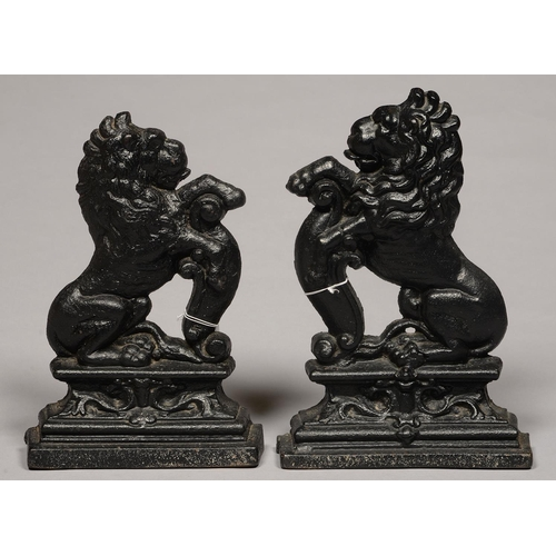 538 - TWO VICTORIAN CAST IRON LION PATTERN DOOR STOPS, 19TH C, 38CM H AND C...