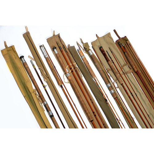 546 - SIX VARIOUS VINTAGE SPLIT CANE FLY FISHING RODS, AND ONE HARDY FILALITE FIBREGLASS ROD, FIRST HALF ...