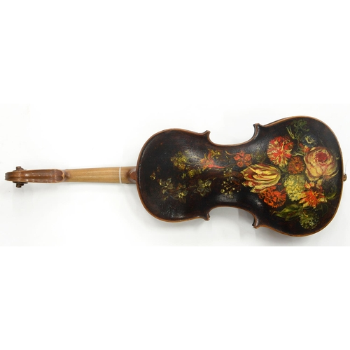 549 - A VIOLIN, THE BACK PAINTED WITH FLOWERS, LENGTH OF BACK 35CM, A LATE 19TH C ROSEWOOD VIOLIN CASE AND...
