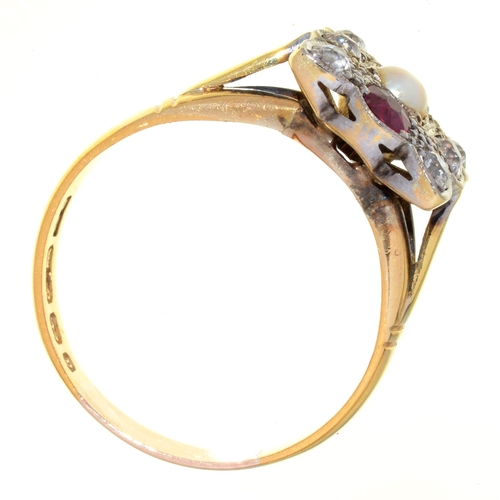 55 - A VICTORIAN RUBY, SAPPHIRE, PEARL AND DIAMOND RING, MILLEGRAIN SET, 18CT GOLD BAND, BIRMINGHAM 1898,...