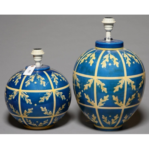 558 - TWO MATCHING KINGFISHER BLUE AND CREAM GLAZED GLOBULAR EARTHENWARE LAMPS, LATE 20TH C, 27CM H AND SM...