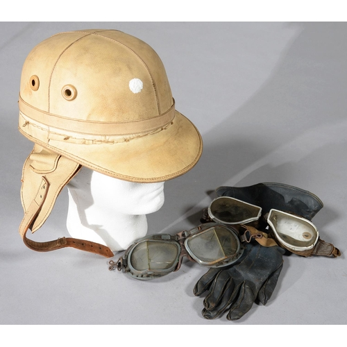 571 - A J COMPTON SONS & WEBB LTD CORKER VINTAGE MOTOR CYCLE HELMET AND TWO PAIRS OF GOGGLES, 1930S...