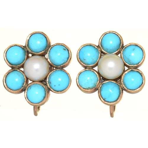 58 - A PAIR OF CULTURED PEARL AND TURQUOISE EARRINGS, C EARLY 20TH C, IN GOLD, 11MM, SCREW FITTING MARKED...