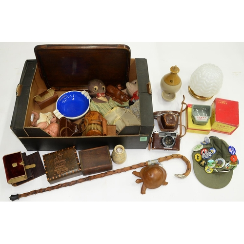 589 - A 19TH C SALTGLAZED STONEWARE BIRD FEEDER, 19CM H AND MISCELLANEOUS OTHER BOXES, OBJECTS, CAMERAS, ...