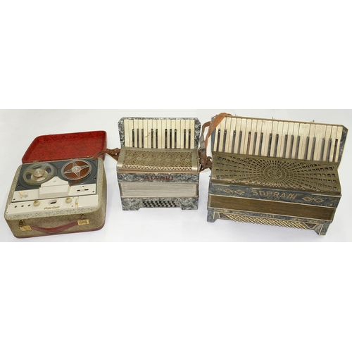 593 - TWO PIANO ACCORDIONS AND REEL 2 REEL TAPE PLAYER...