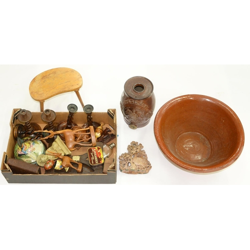 596 - MISCELLANEOUS WOODEN ITEMS, CARVINGS AND CANDLESTICKS, ETC AND A SALTGLAZED WATER FILTER AND MIXING ...