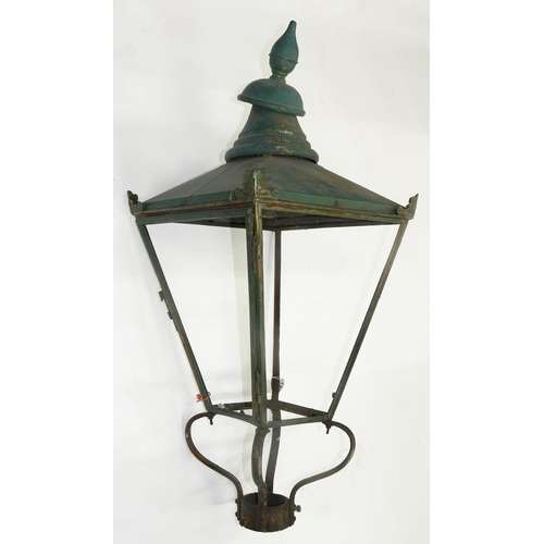 598 - A COPPER LANTERN, 104CM H; 42 X 42CM (LACKING GLASS)...