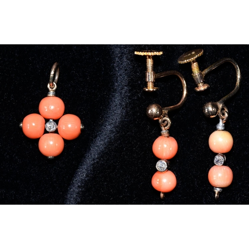 60 - A PAIR OF CORAL BEAD AND DIAMOND PENDANT EARRINGS AND A SIMILAR PENDANT, MOUNTED IN GOLD, EARRINGS ...