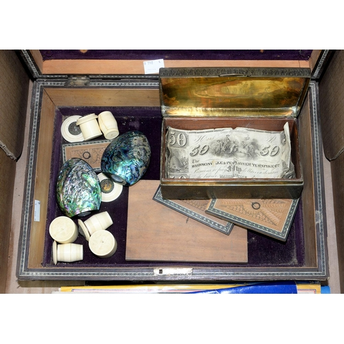 604 - A SANDALWOOD WORK BOX, A WALNUT JEWEL BOX, VINTAGE CARD GAMES, ETC...