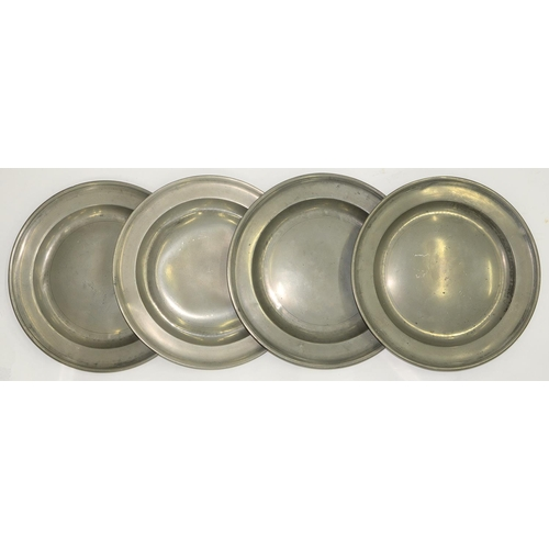 608 - FOUR ENGLISH PEWTER DISHES, LATE 18TH/EARLY 19TH C, 38CM DIAM AND C, VARIOUSLY MARKED...