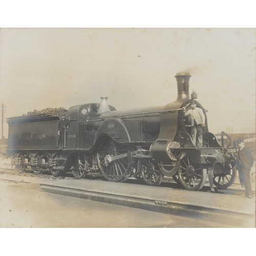 654 - TWO VINTAGE PHOTOGRAPHS OF THE GREAT NORTHERN RAILWAY 4-2-2 LOCOMOTIVE 1004 AND 4-4-2 LOCOMOTIVE 990...