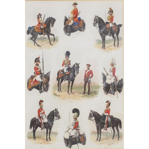 681 - RICHARD SIMKIN (1850-1926) - UNIFORMS OF THE LIFE GUARDS 1660-1854, SIGNED, WATERCOLOUR, 45 X 30CM...