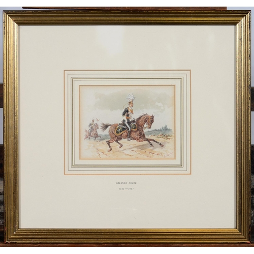 689 - ORLANDO NORIE (1832-1901) - THE 17TH (DUKE OF CAMBRIDGE'S OWN) LANCERS, SIGNED, WATERCOLOUR, 10 X 13...