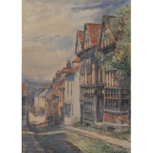 692 - FRANCIS BROWNE TIGHE (1865-1936) - STREET SCENES; NET HUTS HASTINGS, THREE, ALL SIGNED AND DATED 191...