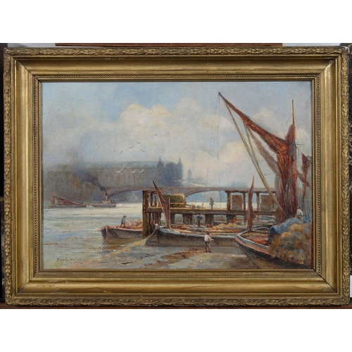 695 - THOMAS HALE SANDERS (EXL 1880-1906) - THE THAMES AT LOW WATER BANKSIDE, CANNON STREET STATION IN THE...