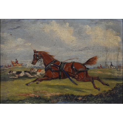 697 - ENGLISH SCHOOL, EARLY 19TH C - THE RUNAWAY CARRIAGE HORSE, OIL ON CANVAS, 25 X 35.5CM       ...