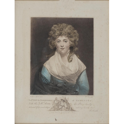 700 - AN ENGRAVING OF THE MARCHIONESS OF HERTFORD, HAND COLOURED, 1797, PRINTED LATER, 32 X 24CM AND FOUR ...