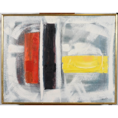 703 - MODERN BRITISH SCHOOL, 1962 - UNTITLED (ABSTRACT), TWO, BOTH SIGNED (PERRIN) AND DATED '62, OIL ON C...