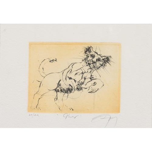 705 - 20TH CENTURY SCHOOL - LIONS, THREE, DRYPOINTS, ALL SIGNED INDISTINCTLY BY THE ARTIST, INSCRIBED AND ...
