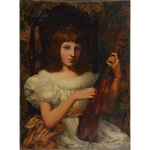 709 - ETHEL  ELLERBY (EXH 1880-1901) - THE YOUNG VIOLINIST, SIGNED, DATED 1888, OIL ON CANVAS, 76 C56CM, U...