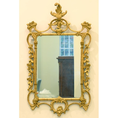 715 - A GILTWOOD  MIRROR, 20TH C, IN MID 18TH C ENGLISH STYLE, 126CM H...