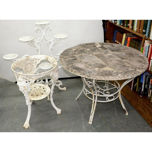 755 - A CAST IRON PUB TABLE, MASON'S PRIZE BAR FITTINGS, 20TH C, A WHITE PAINTED TUBULAR METAL GARDEN TABL...