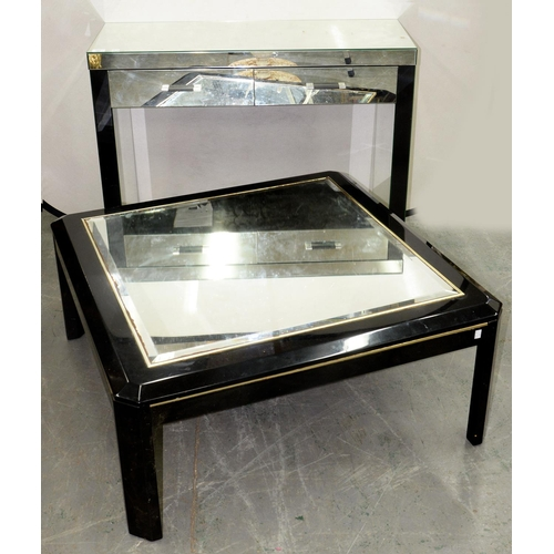 768 - A STYLISH MIRROR GLASS AND BLACK PAINTED WOOD SIDE TABLE, 82CM H; 101 X 38CM AND A SIMILAR COFFEE TA...