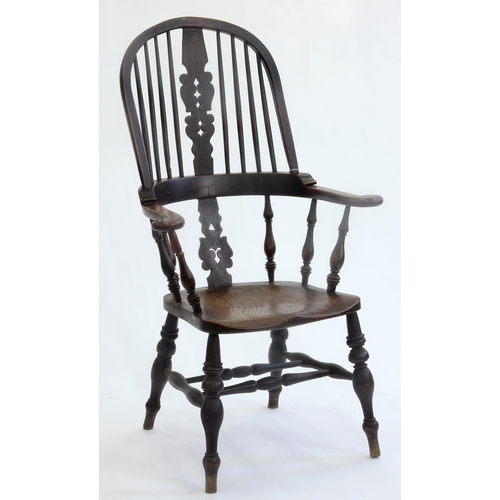 783 - A VICTORIAN ASH HIGH BACK WINDSOR CHAIR, LATE 19TH C, WITH ELM SEAT, SEAT HEIGHT 46CM, OVERALL WIDTH...
