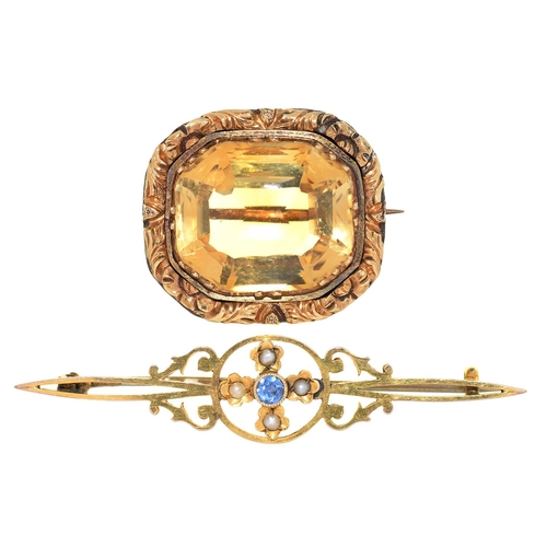 79 - A VICTORIAN CITRINE BROOCH, MID 19TH C, IN CHASED GOLD MOUNT, 31 X 24MM AND A LATE VICTORIAN SAPPHIR...