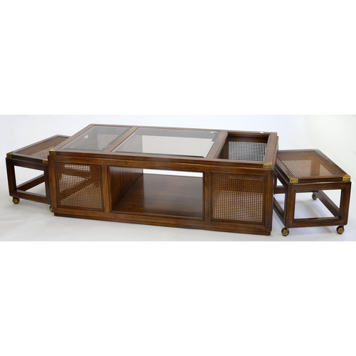794 - A STAINED WOOD AND CANED NEST OF TABLES, THE LARGEST WITH CINNAMON GLASS TOP, LATE 20TH C, 47CM H; 1...