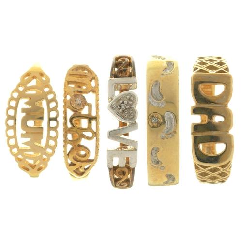 8 - FIVE GOLD RINGS,10.7g, SIZES M, N, P...