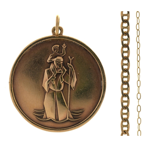 80 - A 9CT GOLD ST CHRISTOPHER PENDANT, 26MM DIAM, BIRMINGHAM 1972 AND TWO  GOLD CHAINS, 11.8G (3)...