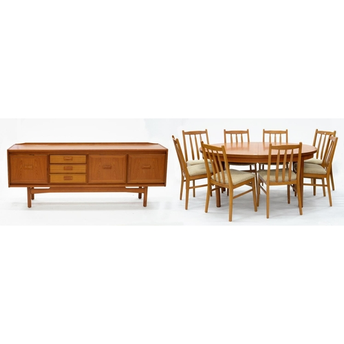 803 - A TEAK DINING TABLE, 73CM H; 159 X 107CM (200CM L WHEN EXTENDED), A SIDEBOARD, 77CM H; 199 X 45CM AN...