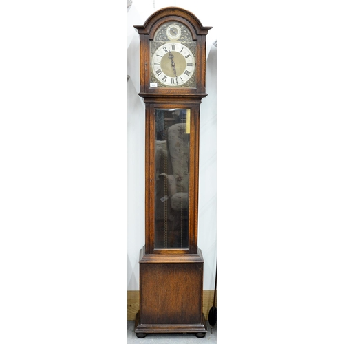 808 - AN OAK LONGCASE CLOCK, C1930, THE BREAKARCHED BRASS DIAL WITH SILVERED RING TO THE ARCH INSCRIBED ST...