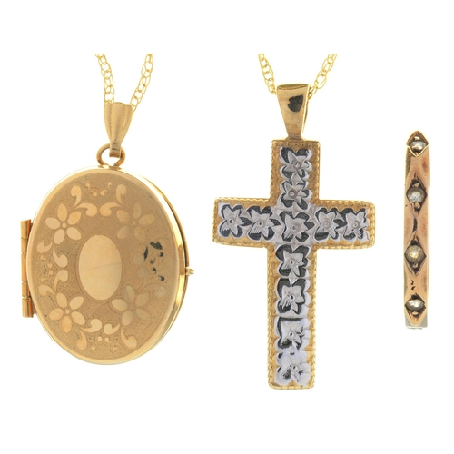 81 - A 9CT TWO COLOUR GOLD CROSS, 33MM, A GOLD LOCKET, RING AND TWO NECKLETS, 7.6G (4)...