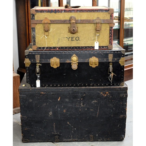 812 - A VICTORIAN IRON BOUND AND BLACK PAINTED PINE BOX AND TWO CABIN TRUNKS,56CM H; 102 X 55CM AND SMALL...