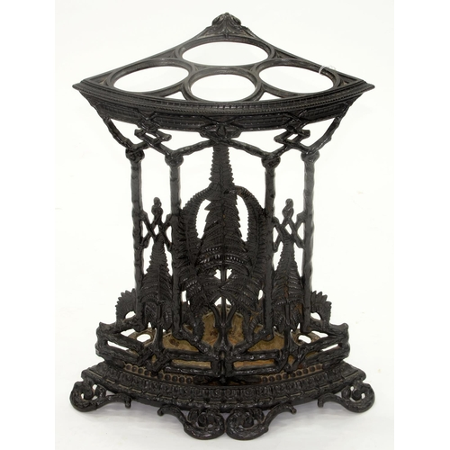 822 - A VICTORIAN CAST IRON CORNER UMBRELLA STAND BY THE COALBROOKDALE CO, LATE 19TH C, DECORATED WITH FER...